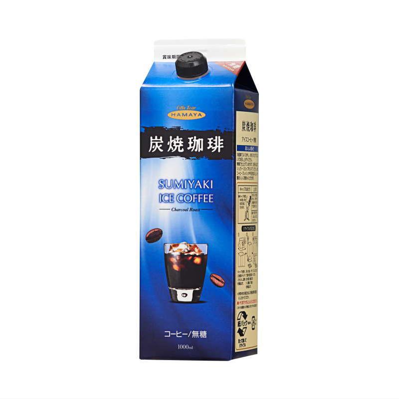 炭焼アイスコーヒー 無糖 1リットルパック画像