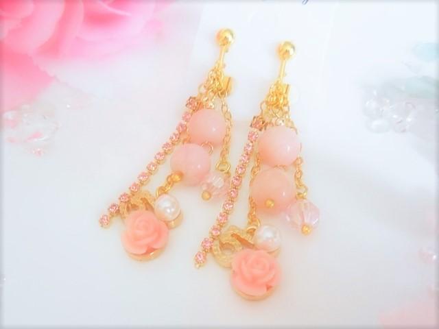 ピンクオパールローズイヤリングの画像