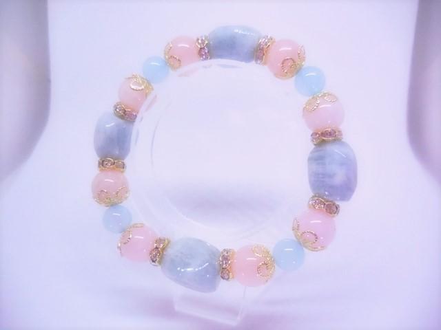 H.T様オーダー☆アクアマリン&モルガナイト ガーネットブレスと指輪のセット の画像