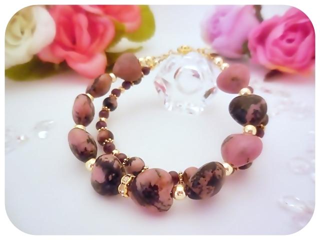 薔薇輝石ロードナイト&ルビー2連ブレスレットの画像