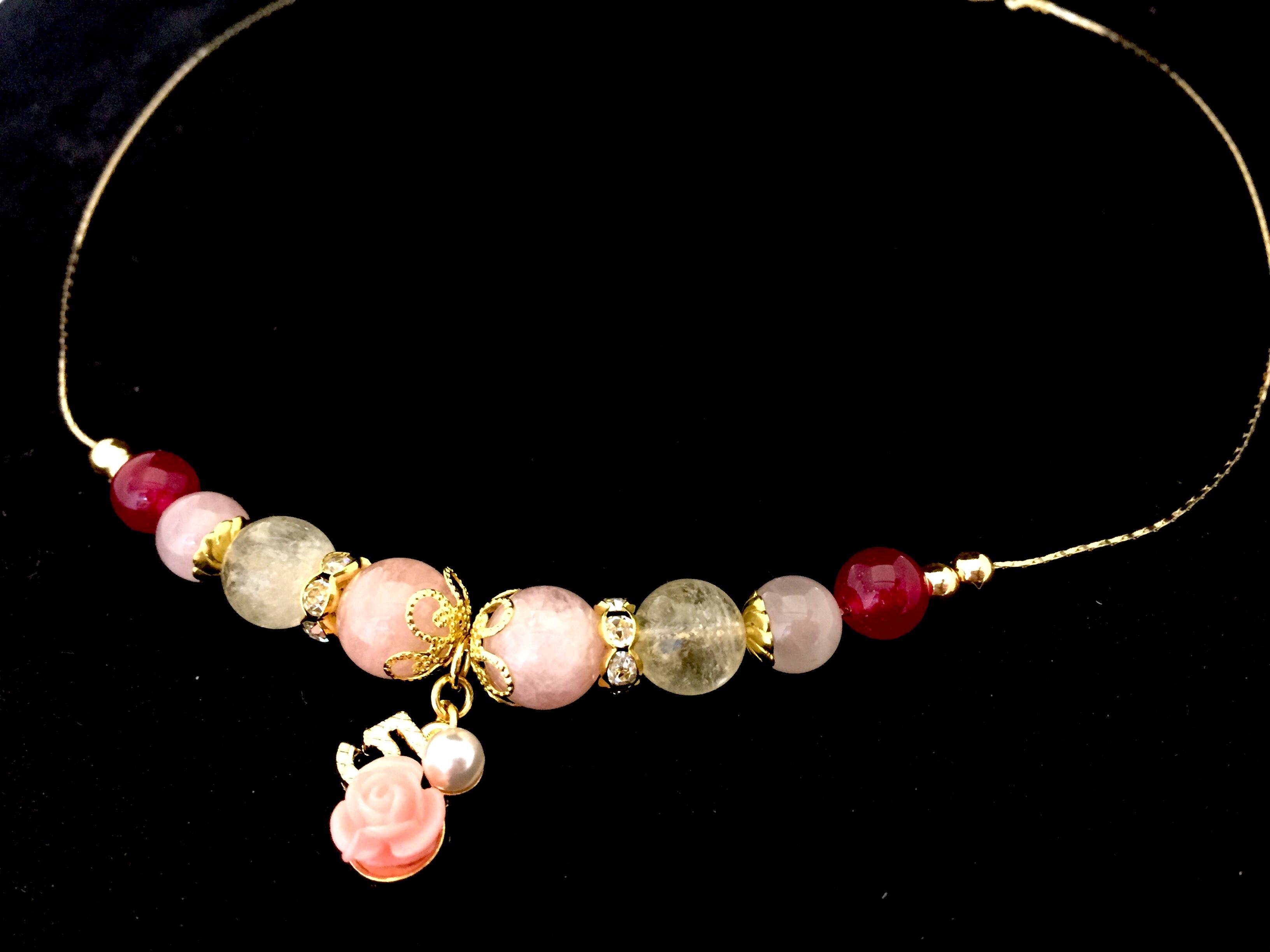 モルガナイト&シトリン薔薇のチェーンネックレス画像