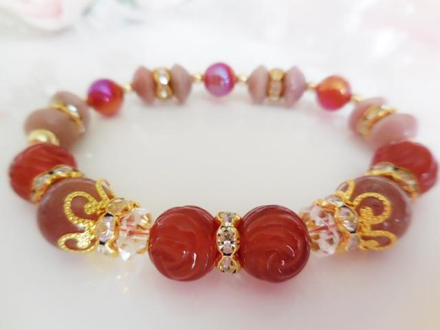麗し薔薇~ピンクオパール&レッドアゲートの画像