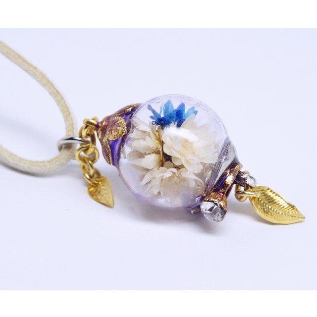花球体ガラスドームランプペンダント【白】の画像