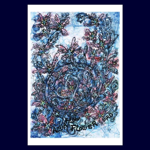 「 AQUA FLOW FLOWER BIRD 」絵画カード画像