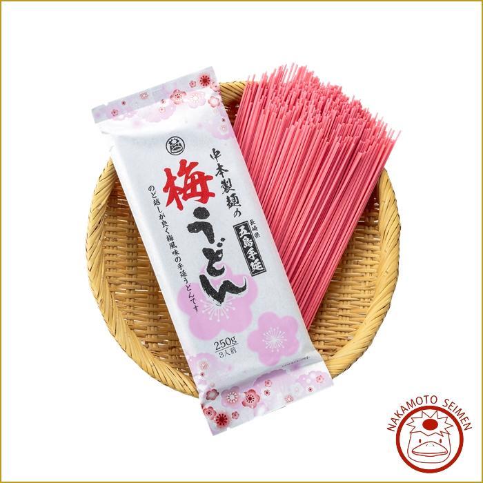梅うどん 250g 袋  ほのかに香る梅の香り、食卓も彩り華やかで重宝 白いうどんとコンビで人気の一品画像