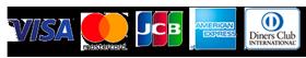 カード決済はVISA、Mastercard、JCB、AmericanExpress(アメックス)、Dinersが利用可能です。