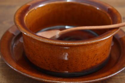 宇田康介 飴釉耐熱グラタン皿&ソーサー画像