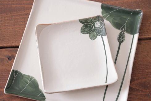 大谷桃子 緑ハスの花角皿画像