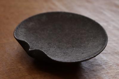 高田志保 黒釉片口豆皿画像