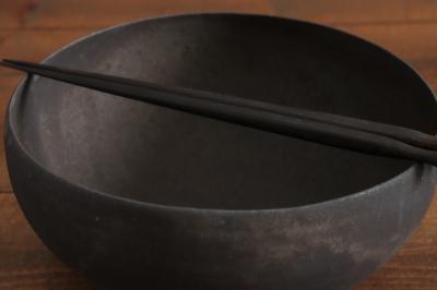 高田志保 黒釉丸鉢画像