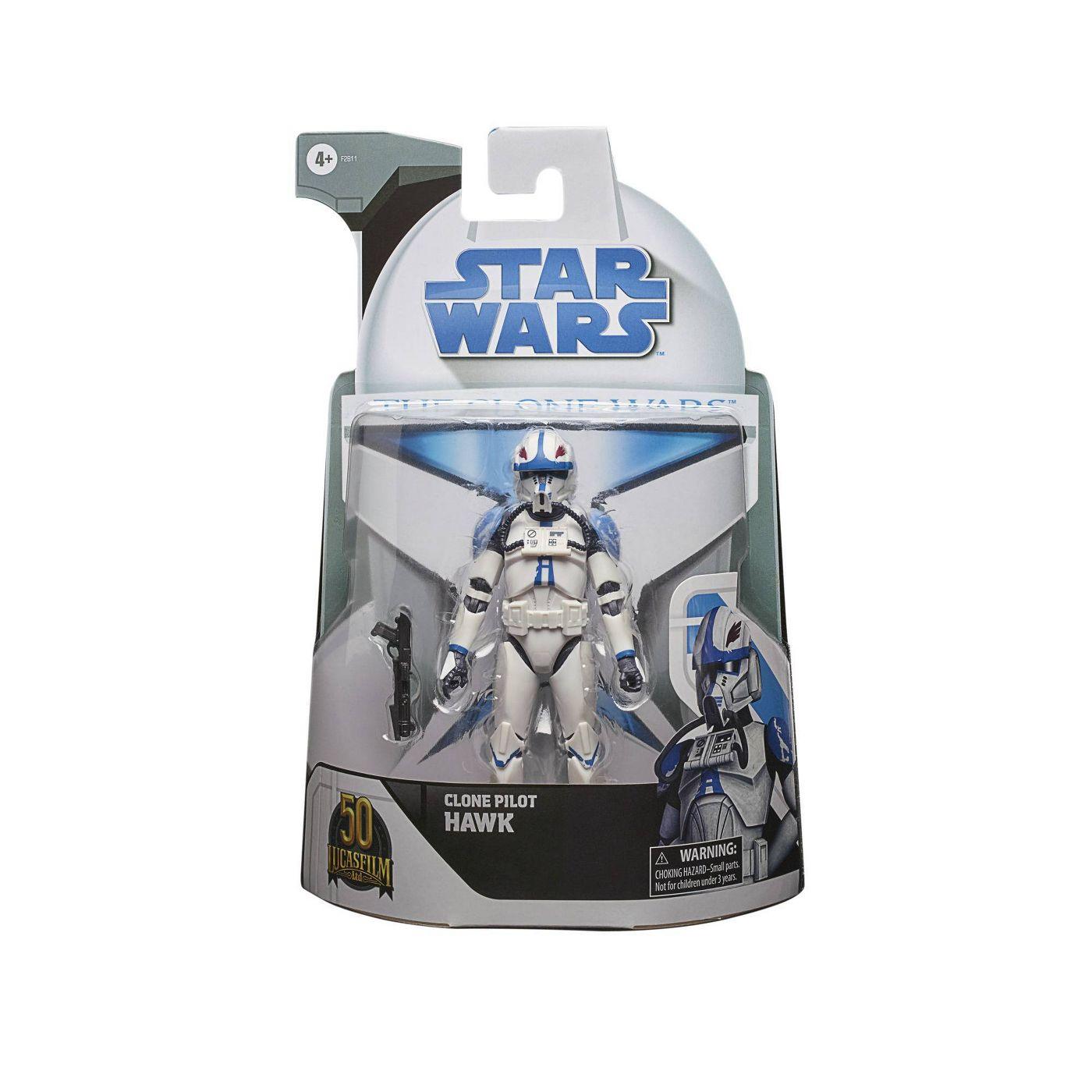 Star Wars TBS The Clone Wars Lucasfilm 50th Anniv Clone Pilot Hawk 6-Inch Action Figure画像